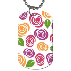 Colorful Seamless Floral Flowers Pattern Wallpaper Background Dog Tag (two Sides) by Amaryn4rt