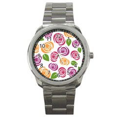 Colorful Seamless Floral Flowers Pattern Wallpaper Background Sport Metal Watch by Amaryn4rt