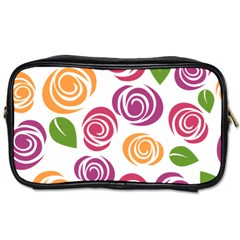 Colorful Seamless Floral Flowers Pattern Wallpaper Background Toiletries Bags 2 Side by Amaryn4rt