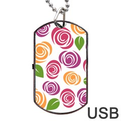 Colorful Seamless Floral Flowers Pattern Wallpaper Background Dog Tag Usb Flash (one Side) by Amaryn4rt