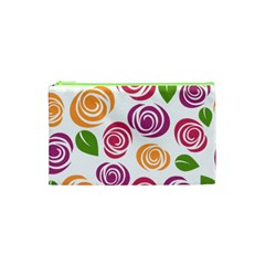 Colorful Seamless Floral Flowers Pattern Wallpaper Background Cosmetic Bag (xs)