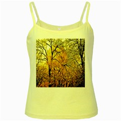 Summer Sun Set Fractal Forest Background Yellow Spaghetti Tank by Amaryn4rt