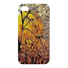 Summer Sun Set Fractal Forest Background Apple Iphone 4/4s Hardshell Case by Amaryn4rt