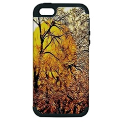 Summer Sun Set Fractal Forest Background Apple Iphone 5 Hardshell Case (pc+silicone) by Amaryn4rt