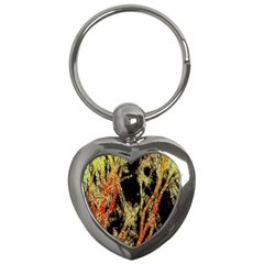Artistic Effect Fractal Forest Background Key Chains (heart)  by Amaryn4rt