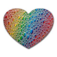 Bubbles Rainbow Colourful Colors Heart Mousepads by Amaryn4rt