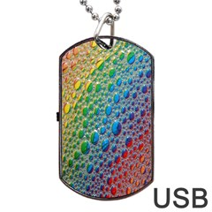 Bubbles Rainbow Colourful Colors Dog Tag Usb Flash (two Sides) by Amaryn4rt