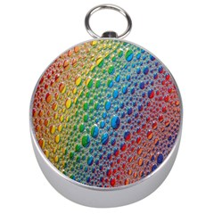 Bubbles Rainbow Colourful Colors Silver Compasses by Amaryn4rt