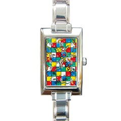 Snakes And Ladders Rectangle Italian Charm Watch by Amaryn4rt