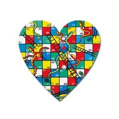 Snakes And Ladders Heart Magnet by Amaryn4rt