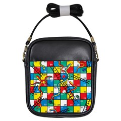 Snakes And Ladders Girls Sling Bags by Amaryn4rt