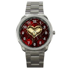 Love Hearth Background Scrapbooking Paper Sport Metal Watch by Amaryn4rt