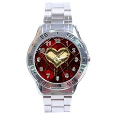Love Hearth Background Scrapbooking Paper Stainless Steel Analogue Watch by Amaryn4rt