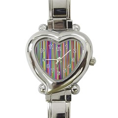 Striped Stripes Abstract Geometric Heart Italian Charm Watch