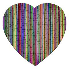 Striped Stripes Abstract Geometric Jigsaw Puzzle (heart) by Amaryn4rt