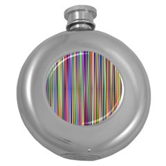Striped Stripes Abstract Geometric Round Hip Flask (5 Oz)