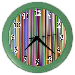 Striped Stripes Abstract Geometric Color Wall Clocks by Amaryn4rt