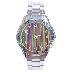 Striped Stripes Abstract Geometric Stainless Steel Analogue Watch by Amaryn4rt