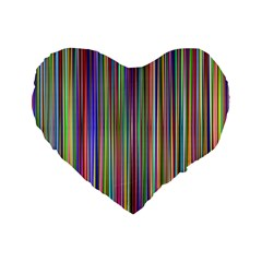 Striped Stripes Abstract Geometric Standard 16  Premium Flano Heart Shape Cushions by Amaryn4rt