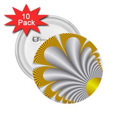 Fractal Gold Palm Tree  2 25  Buttons (10 Pack)