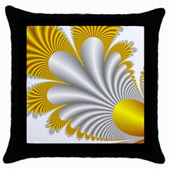 Fractal Gold Palm Tree  Throw Pillow Case (black) by Amaryn4rt