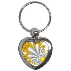 Fractal Gold Palm Tree  Key Chains (heart)