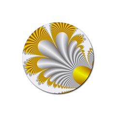 Fractal Gold Palm Tree  Rubber Round Coaster (4 Pack)