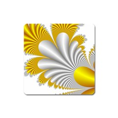 Fractal Gold Palm Tree  Square Magnet by Amaryn4rt