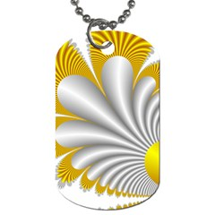 Fractal Gold Palm Tree  Dog Tag (two Sides) by Amaryn4rt