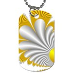 Fractal Gold Palm Tree  Dog Tag (Two Sides) Back