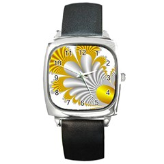 Fractal Gold Palm Tree  Square Metal Watch