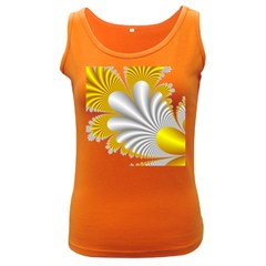 Fractal Gold Palm Tree  Women s Dark Tank Top