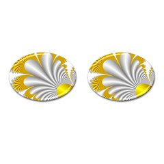 Fractal Gold Palm Tree  Cufflinks (oval)