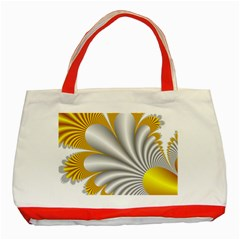 Fractal Gold Palm Tree  Classic Tote Bag (red)