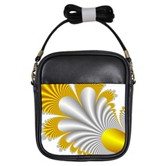 Fractal Gold Palm Tree  Girls Sling Bags