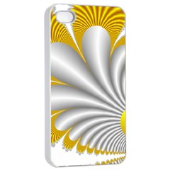 Fractal Gold Palm Tree  Apple Iphone 4/4s Seamless Case (white) by Amaryn4rt