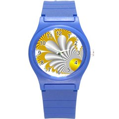 Fractal Gold Palm Tree  Round Plastic Sport Watch (s)