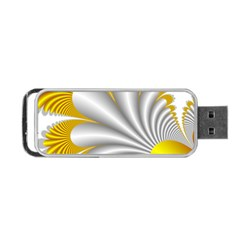 Fractal Gold Palm Tree  Portable Usb Flash (one Side) by Amaryn4rt