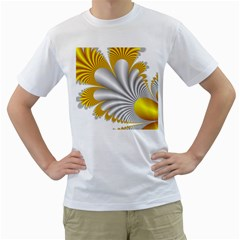Fractal Gold Palm Tree  Men s T Shirt (white)