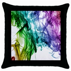 Colour Smoke Rainbow Color Design Throw Pillow Case (black) by Amaryn4rt