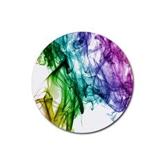 Colour Smoke Rainbow Color Design Rubber Round Coaster (4 Pack)  by Amaryn4rt
