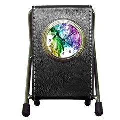Colour Smoke Rainbow Color Design Pen Holder Desk Clocks