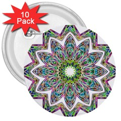 Decorative Ornamental Design 3  Buttons (10 Pack)