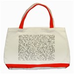 Handwriting  Classic Tote Bag (Red) Front