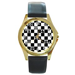 Chess Round Gold Metal Watch