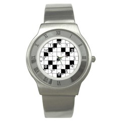 Crosswords  Stainless Steel Watch by Valentinaart