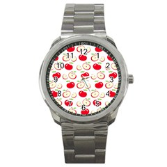 Apple Pattern Sport Metal Watch by Valentinaart