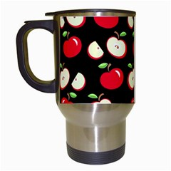 Apple Pattern Travel Mugs (white) by Valentinaart