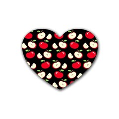 Apple Pattern Rubber Coaster (heart)  by Valentinaart