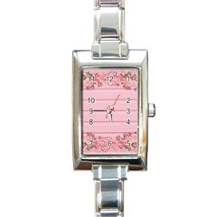 Pink Peony Outline Romantic Rectangle Italian Charm Watch by Simbadda